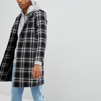 Reclaimed Vintage Inspired Overcoat In Black Check at asos.com