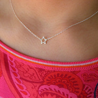 Little Dainty Sterling Silver Necklace with Silver Plated Star - star necklace - gift under 20 - minimalist