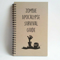 Zombie Apocalypse Survival Guide, 5x8 writing journal, custom spiral notebook, personalized brown kraft memory book, small sketchbook