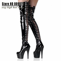 6 Inch Over The Knee Thigh High Boots Cross Gladiator Boots For Women Platform High Heel Shoes Sexy Clubbing Pole Dancing Boots = 1945698372