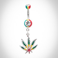 14 Gauge Cubic Zirconium Rasta Banana Belly Button Ring with Leaf Dangle