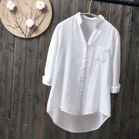 Cotton Long Sleeve Pockets Solid V-neck Button Blouse