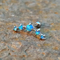 Blue Fire Opals Stud Cartilage Earring 5 Fire Opals Piercing16g  Upper Ear Jewelry