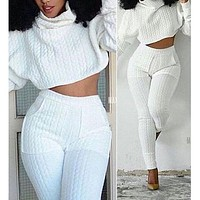 Autumn Winter Trending Women Stylish Sports Top Sweater Pants Trousers Set Two-Piece White I/A
