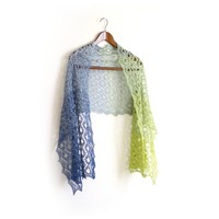 Knit shawl in gradient green and blue colors, cotton wrap, gift for her