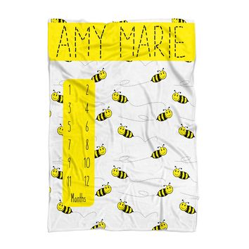 Baby Milestone Blanket - Bumble Bees - Personalized Baby Blanket - Track Growth and Age - New Mom Baby Shower Gift - Black and Yellow