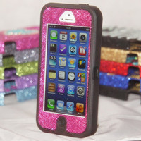 Custom iPhone 5 Otterbox Glitter Case Defender Series Max 4 Camo/Raspberry Glitter for iPhone 5