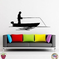 Wall Stickers Vinyl Decal Man A Fishing From A Boat Relax Relaxation Unique Gift (z1796)