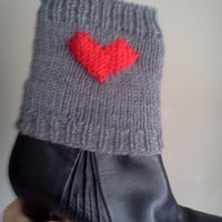 Knitted Boot Cuffs with Red Heart ,Gray Boot Topper, Ankle Warmer,Gray Boot Covers Valentine Day Gift Boot Cuffs Two in One