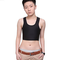 Sexy Three-breasted Breathable Buckle Corsets Short Chest Breast Binder Trans Lesbian tops White, Black 31
