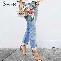 Floral embroidery jeans female Winter zipper straight denim pants jeans women Fashion pocket light blue trousers jeans