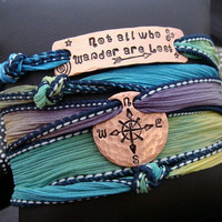 "SALE D2E silk wrap bracelet with hammered hand stamped ""Not All Who Wander Are Lost"" copper bar & recycled penny w/Compass design"