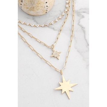 Layered Chain Necklace with Star Pendants