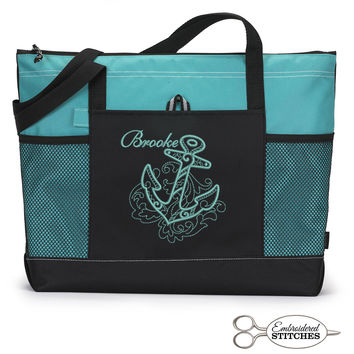 Nautical Anchor Personalized  Zippered Tote Bag with Mesh Pockets