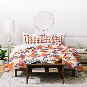 Betsy Olmsted Pixel Houndstooth in oxide Duvet Cover