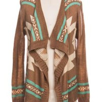 Folklore Narrative Aztec Knit Cascading Shawl Collar Cardigan in Brown  | Sincerely Sweet Boutique