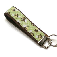 Bees key fob wristlet key chain. Embroidery personalization available.