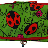 Cosmetic Makeup Bag Ladybug Print Travel Kit Black Folding Pouch Organizer