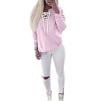 Hoodies Lace Up Pink sweater