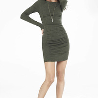 Olive Ruched Crew Neck Sweater Dress from EXPRESS