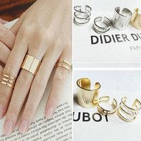 3 Pcs Punk Gold Silver Rings Female Anillos Stack Plain Band Midi Mid Finger Knuckle Rings Set for Women Anel Rock Jewelry