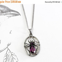 Victorian Spider Pendant, Antique German Silver and Amethyst Paste Insect Charm Necklace, Good Luck Token, Graduation Gift Bohemian Jewelry