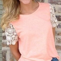Casual Round Neck Lace Knit T-Shirt