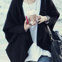 Solid Color Asymmetric Knitted Cardigan