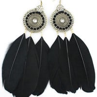 Black Feather Earrings