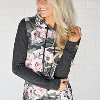 Camo & Floral Hoodie ~ Charcoal