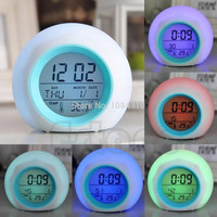Digital LED Glowing Change Thermometer/Clock/Alarm w/Nature Sound; 7 Colors to Choose From