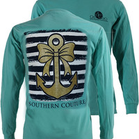 SALE Southern Couture Gold Glitter Anchor Bow Comfort Colors Mint Long Sleeve T-Shirt