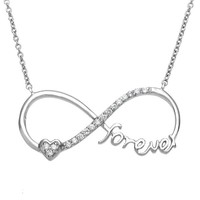 """Sterling Silver 16+2"""" """"Forever"""" Heart CZ Infinity Necklace"""