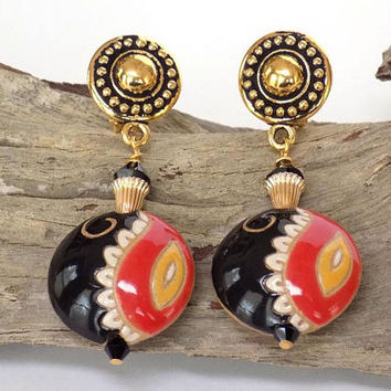 Earrings for Large Women, Statement Earrings, Non Pierced Earrings, Dangle Earrings, Handmade Clip on Earrings, Black Earrings, Boho Jewelry