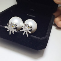 Shell pearl snowflake 925 sterling silver earrings, a perfect gift