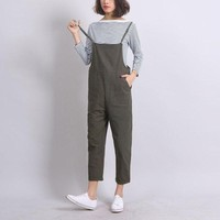 LMFIJ6 Ankle-Length Women Loose Suspender Trousers Solid Color Casual High Waist Overalls Autumn Summer Jumpsuits Female Long Pants