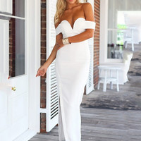 White Strapless Off Shoulder V-Neck with High Side Slit Bodycon Maxi Dress
