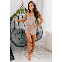 See You On Monday Cross Back Romper (Taupe)