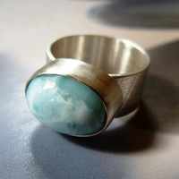 Larimar silver ring, handmade metalwork ring, natural jewelry, blue larimar, larimar ring, OOAK, unique gift, gift for mother, gift for wife