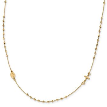 14k Yellow Gold Polished 16in Cross Rosary Necklace