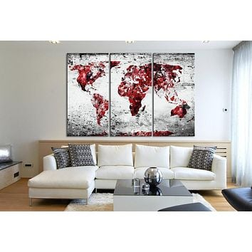 Canvas Print 3 Panel WORLD MAP 3 Piece Atlas Canvas Art Print Black and Red Vintage World Map