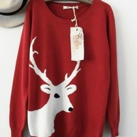 The Jacquard deer graphical Ms. sweater FS30