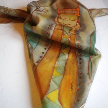 Hand-painted silk scarves.     green--orange and yellow    70x70cm 28x28  in' Scarf. Women   Gift for Her. Dragonflies Shawl for Dress.
