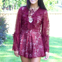 We're Going Out Laced Up Long Sleeve Romper {Beet Red}
