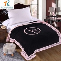 Romanee VS Pink Blanket Victoria 's secret Fleece Bedding Throws on the bed Sofa Car Portable Plaids Bedspread Gift Hot sale
