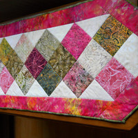 Quilted and patchworked Table Topper, Tablerunner, Bati Table Linen,  Beautiful for Spring.