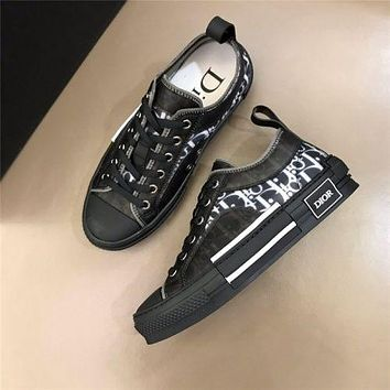 Dior CD fashion men's and women's mesh lace-up high-top shoes flat sports hip-hop sneakers