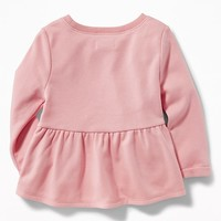 French-Terry Peplum-Hem Sweatshirt for Toddler Girls|old-navy