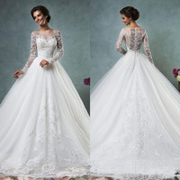 Ball Gown Wedding Dresses 2016 Scoop Neck Long Sleeve Button Sweep Train Tulle and Lace Custon Made Bridal Gown Dress Romantic