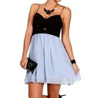 Promo-elly-black/lt.blue Short Prom Dress